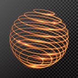 Vector magic gold light trail circle spring globe sphere. Vector magic gold light trail. Sphere globe sape of lowing fire ring trace. Glitter sparkle whirl trail Stock Photo