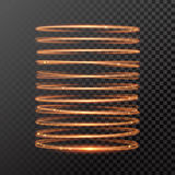 Vector magic gold light trail circle spring tube Royalty Free Stock Images