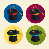 Vector magic hat icon set. Vector illustration magic hat icon set. Circle buttons Stock Photo