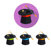 Vector magic hat icon set Royalty Free Stock Image