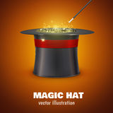 Vector MAGIC HAT with red ribbon Royalty Free Stock Photo