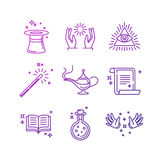 Vector magic related linear icons and signs Stock Images