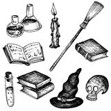 Vector magic set of objects for witch Stock Photos