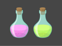 Vector magic vials with pink and green liquid Stock Image