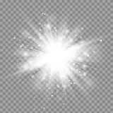 Vector magic white rays glow light effect isolated on transparent background Stock Photos