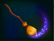 Vector magic witch broom on dark background Royalty Free Stock Photos