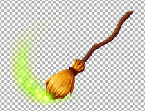 Vector magic witch broom Royalty Free Stock Photo