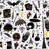 Vector magic witch seamless pattern. Witchcraft. Background Stock Photo