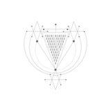 Vector magisch alchimiesymbool geometrisch embleem voor spiritualiteit, occultisme, tatoegeringskunst en druk ideaal voor verbeel Royalty-vrije Stock Foto's