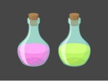 Vector magische flesjes met roze en groene vloeistof Stock Afbeelding