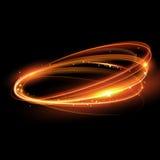 Vector magische gouden lichte sleepcirkel Schitter fonkelingswerveling Stock Fotografie