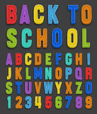 Vector magnets alphabet numbers font Royalty Free Stock Photography