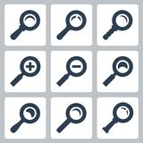 Vector magnifier glass icons set: search, zoom Royalty Free Stock Image