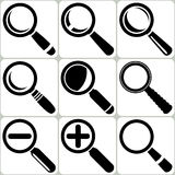 Vector Magnifier Glass Search Find Lupe Zoom Icons. Illustration Stock Photo