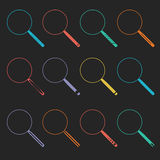 Vector Magnifier Glass and Zoom Icons Stock Photo