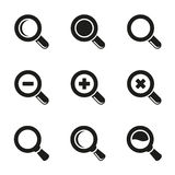 Vector Magnifier Glass and Zoom Icons set Royalty Free Stock Photography