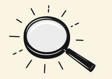 Vector magnifying glass. Vector black magnifying glass on beige background Royalty Free Stock Photos