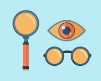 Vector magnifying glass exploration scientific focus icons. Royalty Free Stock Photos