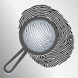 Vector magnifying glass and fingerprint. Vector magnifying glass examining fingerprint Royalty Free Stock Photos
