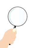 Vector magnifying glass with hand Royalty Free Stock Photos