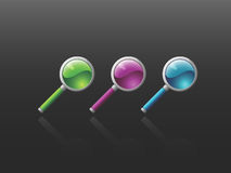 Vector Magnifying Glass Icon Set Stock Photo