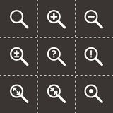 Vector magnifying glass icon set. On black background Royalty Free Stock Photo