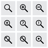 Vector magnifying glass icon set. On grey background Stock Photography