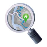 Vector magnifying glass with map concept Stock Photo