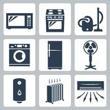 Vector major appliances icons set Stock Photography
