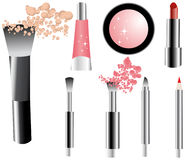 Vector make-up icons set. Brushes, pencil, lipstick, gloss, shadow, powder.Makeup Trends - One of series mak-up rules illustrations stock illustration