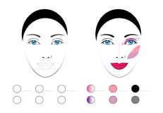 Vector Make up Pattern set, scheme for tutorial. Vector Make up Pattern set, Palette, scheme for make up tutorials. Draw me background. One of seria stock illustration