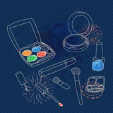Vector make up set with brushes, eyeshadow palette, face powder, nail polish Stock Images