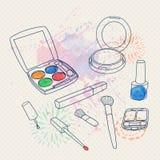 Vector make up set with brushes, eyeshadow palette, face powder, nail polish Royalty Free Stock Photo
