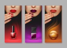 Vector makeup brochure. Vector brochure of makeup with nail polish different colors isolated on gray background Royalty Free Stock Images