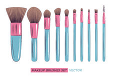 Vector makeup brushes set isolated on white background Royalty Free Stock Photos