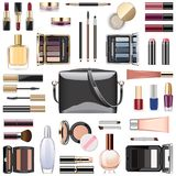 Vector Makeup Cosmetics with Black Handbag Stock Photography