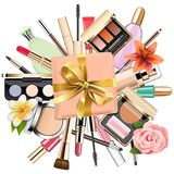 Vector Makeup Cosmetics with Gift. Isolated on white background Stock Images