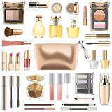 Vector Makeup Cosmetics with Golden Cosmetic Bag vector illustration