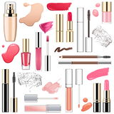 Vector Makeup Cosmetics with Smears Stock Image