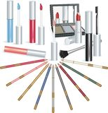 Vector makeup elements. Set of makeup objects, vector illustration Royalty Free Stock Images