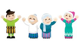 A Muslim family waving their hands. Vector for Malay Muslim culture. Isolated Stock Photography