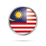 Vector Malaysian flag Button. Malaysia flag in glass button styl Stock Photography