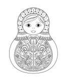 Vector Malbuch für Erwachsenen und Kinder - russische matrioshka Puppe Übergeben Sie gezogenes zentangle mit den Blumen- und ethn Lizenzfreie Stockbilder