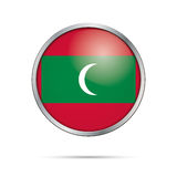Vector Maldivian flag button. Maldives flag in glass button styl Royalty Free Stock Images
