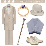 Vector Male Accessories Set 7. On white background Royalty Free Stock Photos