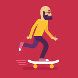 Vector male character in flat style. Man riding skateboard - illustration in simple trendy style Stock Images