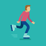 Vector male character in flat style. Man roller skating - illustration in simple trendy style Royalty Free Stock Photo