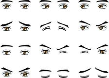 Vector male eyes in different emotion Stock Photos