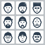 Vector male faces icons set Stock Photography
