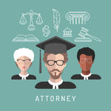 Vector male and female lawyer app icons with attorney symbols in flat style. Advocate man and woman faces avatars signs. Vector male and female lawyer app icons Royalty Free Stock Images